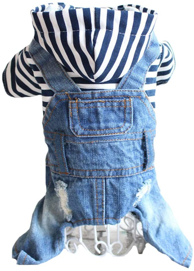 Tengzhi Denim Striped or Grid Pet Dog Jumpsuits Puppy Cat Hoodie Jean Coat Four Feet Clothes for Small Dogs Teddy Yorkies Sweatshirt Jeans Overalls