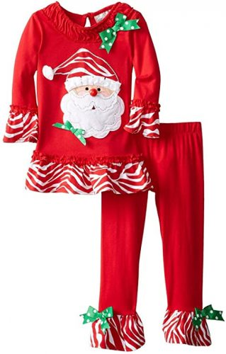 MM Beauty Girls 2pcs Long Pajamas Sleepwear Set Christmas Home wear Red