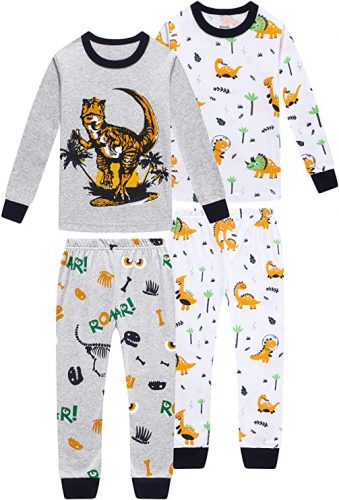 Pajamas for Boys Christmas Kids Children Dinosaurs Sleepwear Baby Clothes 4 Pieces Cotton Pants Set