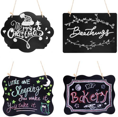 VSADEY 4 Pack Chalkboard Sign Hanging Double-sided Erasable message board| Small Chalkboards