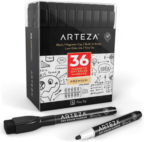 ARTEZA Magnetic Dry Erase Markers with Eraser, Pack of 36 (with Fine Tip)