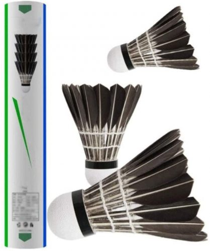 WMMDM 12 Pack Goose Feather Shuttlecocks with Great Stability & Durability, High Speed Badminton Balls for Indoor Outdoor Game (Black)