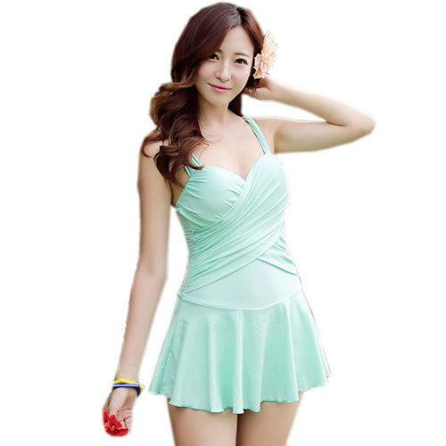 PANDA SUPERSTORE Mint Green Swimsuit- Bathing Suits With Skirts