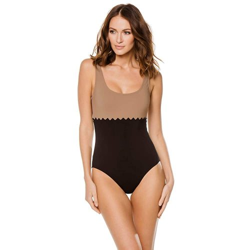 Karla Colletto Women's URVI Rick Rack Over The Shoulder  | Black Swimsuit