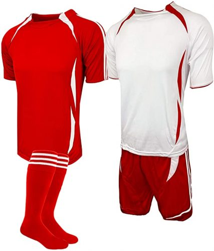 Soccer Uniforms for Teams, Kids and Adults, Red/White, 4 Pcs. Set (Two Jerseys, One Short and One Pair of Socks