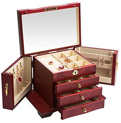 Extra Large Wooden Jewelry Box/Jewel Case Cabinet   Mirror Jewellery Cabinet