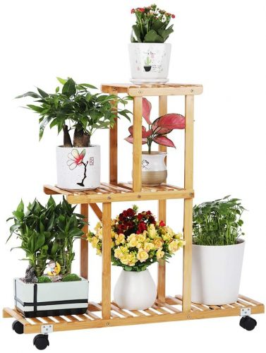 Bamboo Plant Stand Rack with Wheels | Outdoor Plant Shelves