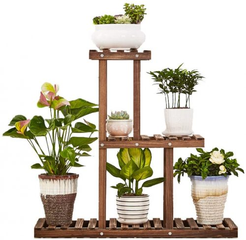 GEEBOBO 3 Tier Plant Stand,Large | Outdoor Plant Shelves