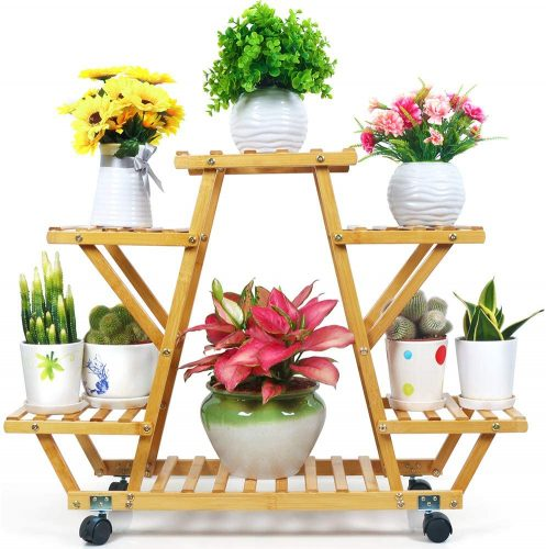 Foldify Bamboo Plant Stand with Wheels | Outdoor Plant Shelves