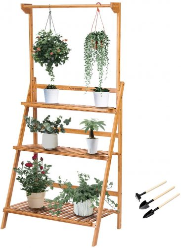 VIVOSUN 3 Tier Bamboo Hanging Plant Stand | Outdoor Plant Shelves